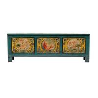 Antieke Chinese Kast Handgeschilderd Koi Vis Groenblauw B159xD41xH56cm