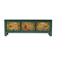 PREORDER 28/12/2020 Antique Chinese Cabinet Handpainted Koi Fish Teal W159xD41xH56cm