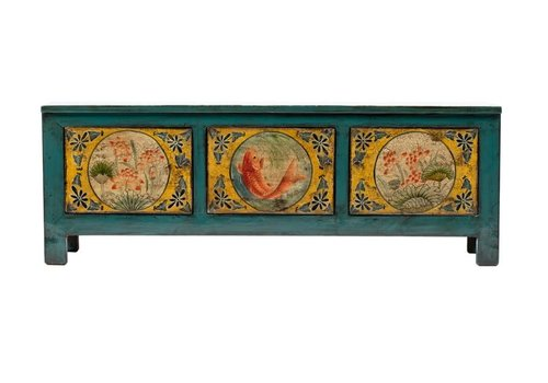 Fine Asianliving Antique Chinese Cabinet Hand-painted Koi Fish Teal W159xD41xH56cm