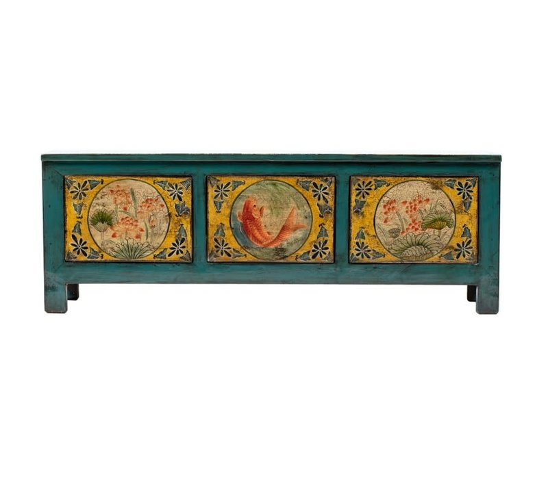Antique Chinese Cabinet Handpainted Koi Fish Teal W159xD41xH56cm