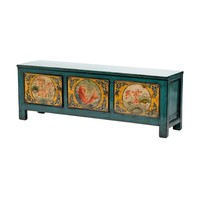 Antique Chinese Cabinet Hand-painted Koi Fish Teal W159xD41xH56cm