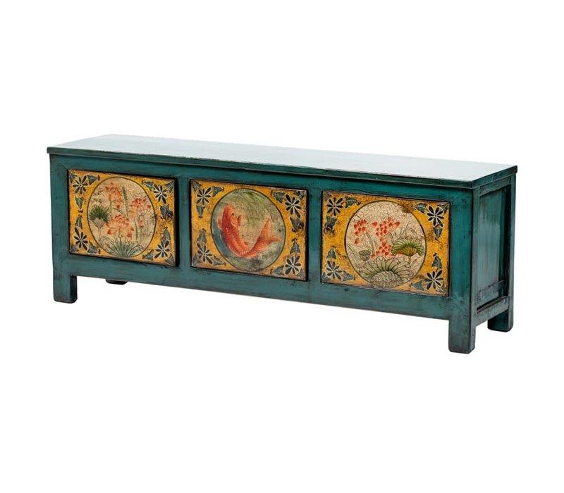 Armoire Chinoise Antique Koï Peint à la Main Bleu Canard L159xP41xH56cm