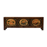 PREORDER 28/12/2020 Antique Chinese Cabinet Handpainted Lotus Brown W159xD41xH56cm