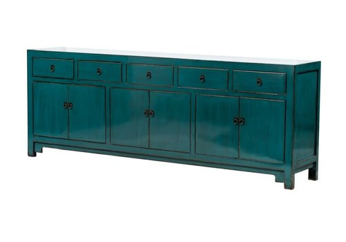 Fine Asianliving PREORDER 28/12/2020 Antique Chinese Sideboard W235xD41xH87cm Glossy Teal