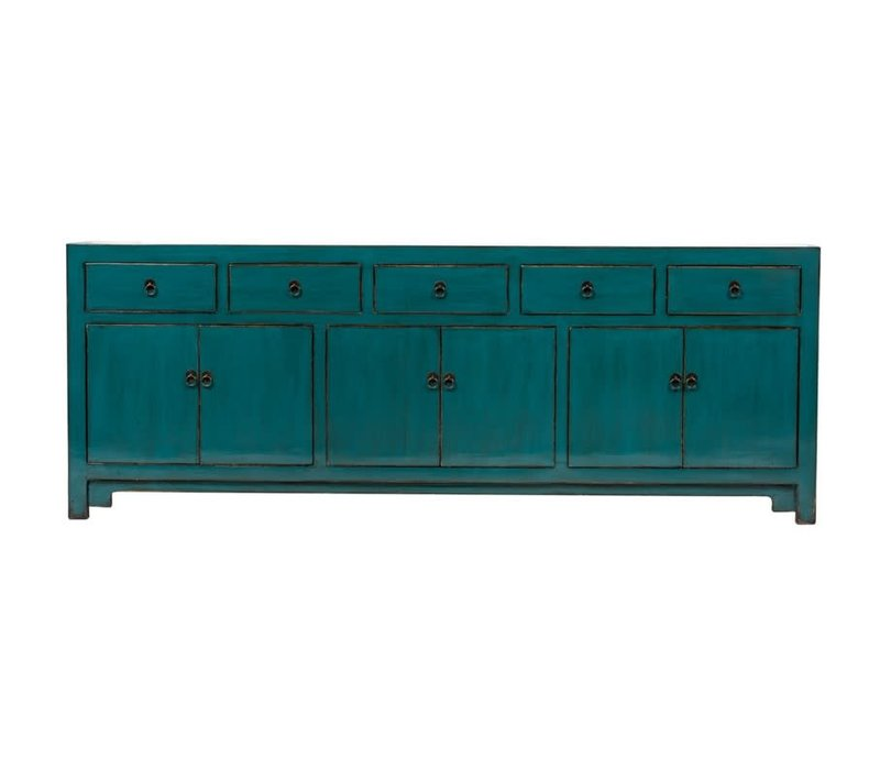 PREORDER 28/12/2020 Antique Chinese Sideboard W235xD41xH87cm Glossy Teal