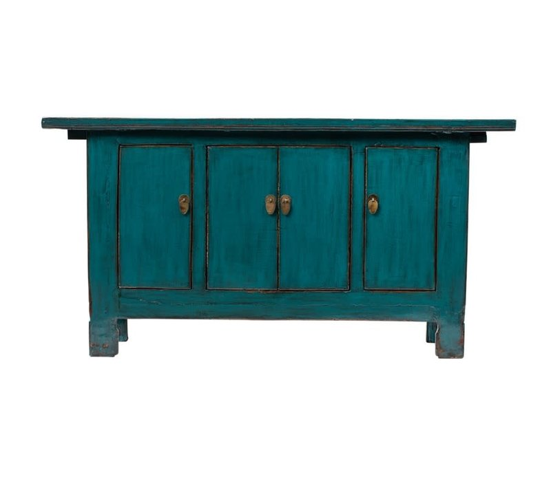 PREORDER 28/12/2020 Antique Chinese Sideboard Glossy Teal W168xD44xH87cm