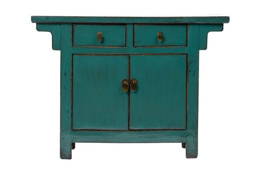 Fine Asianliving Antique Chinese Cabinet Glossy Teal W108xD43xH79cm