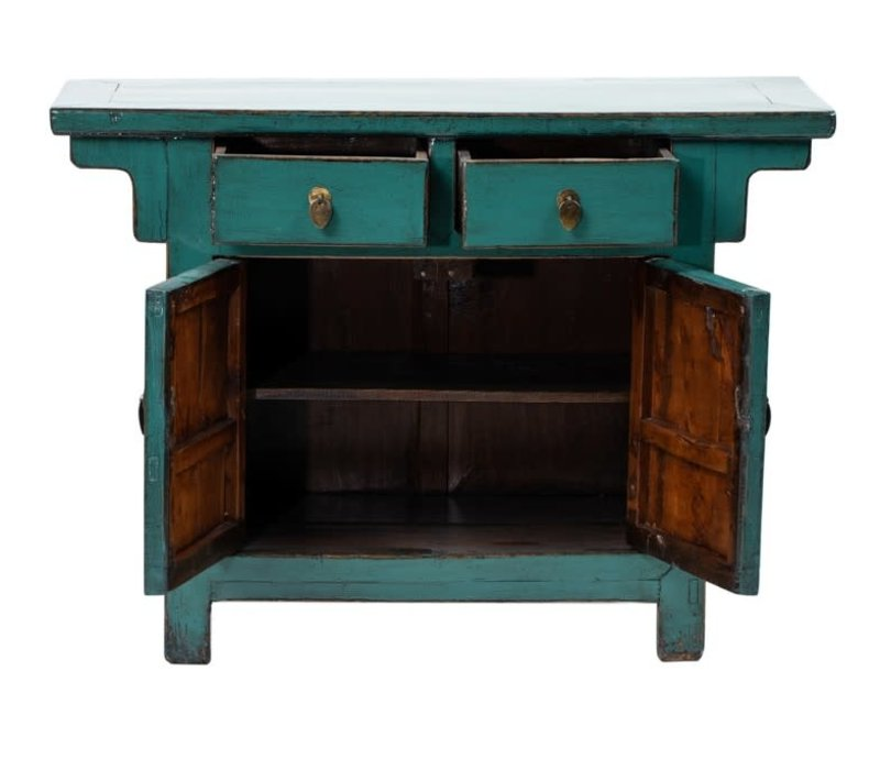 PREORDER 28/12/2020 Antique Chinese Cabinet Glossy Teal W108xD43xH79cm