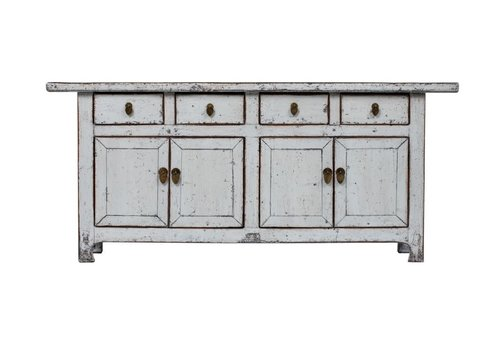 Fine Asianliving Antique Chinese Sideboard Glossy White W177xD45xH78cm