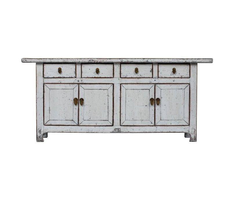 Antikes Chinesisches Sideboard Kommode Glänzend Weiß B177xT45xH78cm