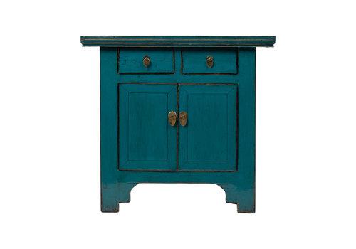 Fine Asianliving Antiker Chinesischer Schrank Glänzend Blau B94xT44xH86cm