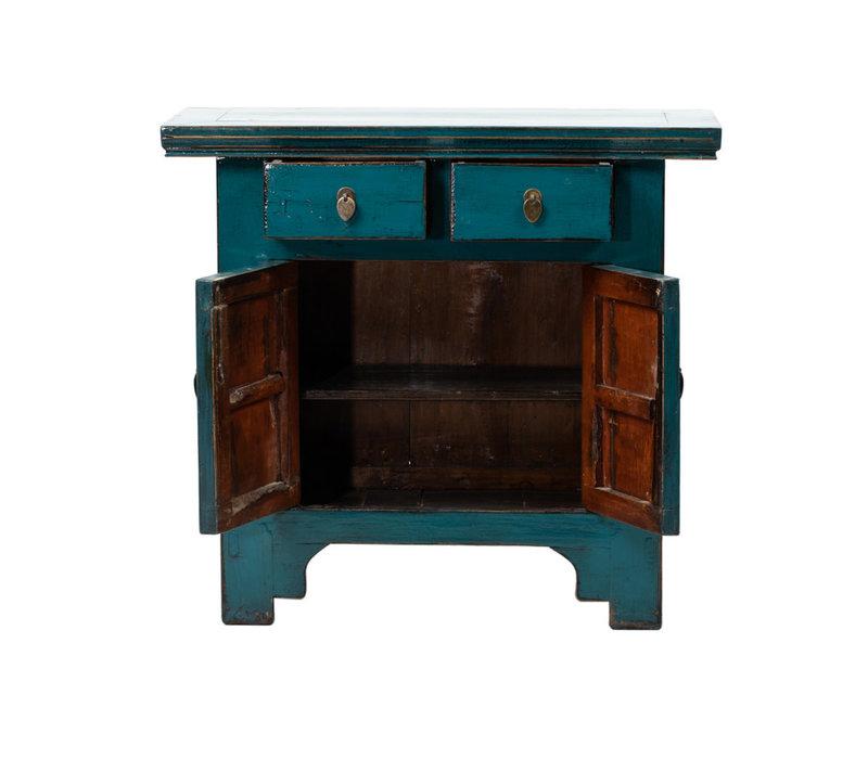 Antiker Chinesischer Schrank Glänzend Blau B94xT44xH86cm