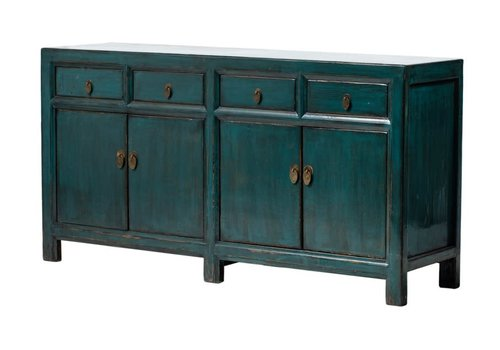 Fine Asianliving Antique Chinese Sideboard Glossy Dark Teal W165xD45xH87cm