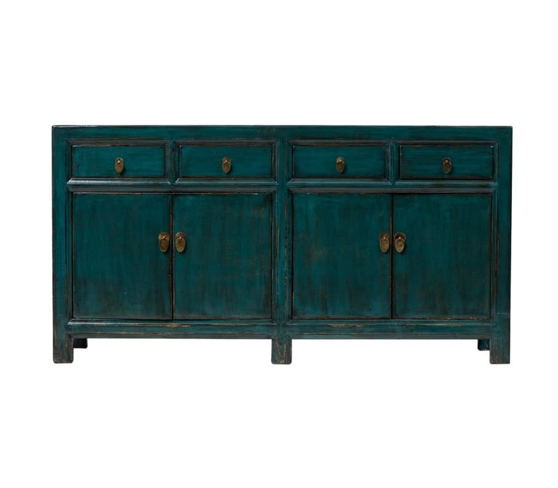 PREORDER 28/12/2020 Antique Chinese Sideboard Glossy Dark Teal W165xD45xH87cm