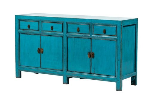 Fine Asianliving PREORDER 28/12/2020 Antique Chinese Sideboard Glossy Blue W160xD40xH90cm