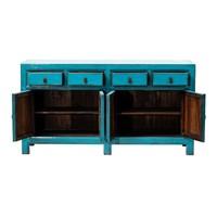 Antikes Chinesisches Sideboard Kommode Glänzend Blau B160xT40xH90cm