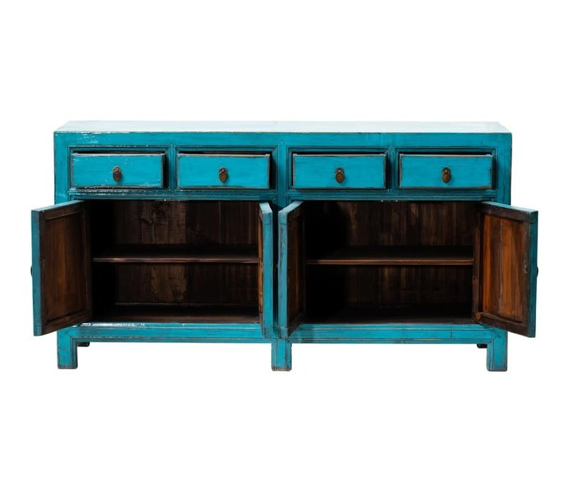 PREORDER 28/12/2020 Antique Chinese Sideboard Glossy Blue W160xD40xH90cm