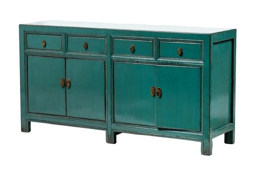 Fine Asianliving Antique Chinese Sideboard Glossy Teal W165xD45xH86cm