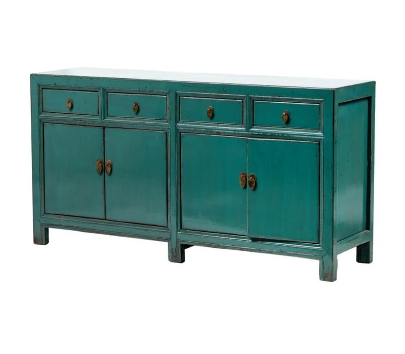 PREORDER 28/12/2020 Antique Chinese Sideboard Glossy Teal W165xD45xH86cm