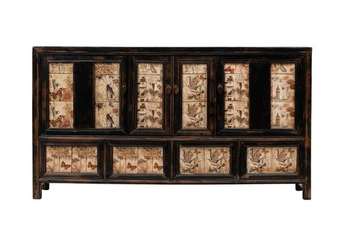 Fine Asianliving Antikes Chinesisches Sideboard Kommode Handbemalt B157xT39xH86cm