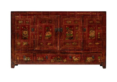 Fine Asianliving Antique Chinese Sideboard Handpainted Flowers W155xD40xH93cm Dongbei China