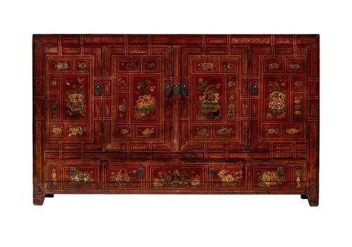 Fine Asianliving Buffet Chinois Antique Fleurs Peintes à la Main L155xP40xH93cm Dongbei, Chine
