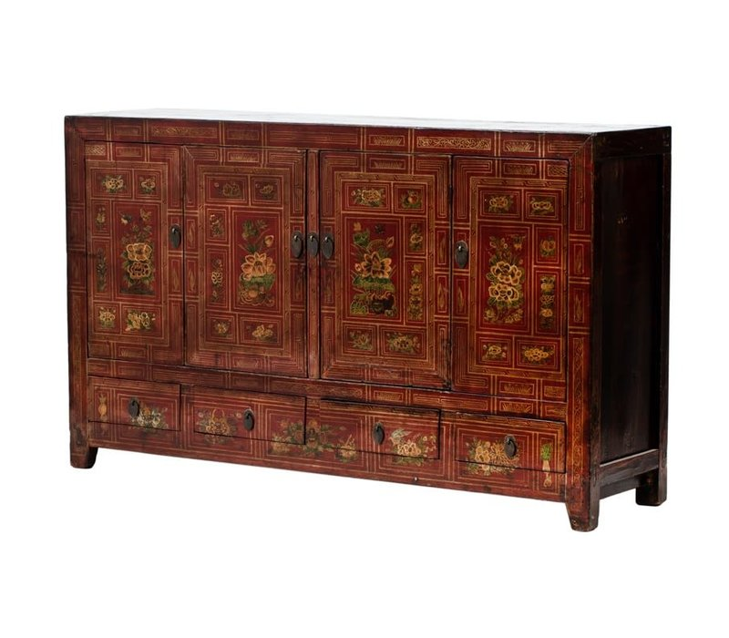PREORDER 28/12/2020 Antique Chinese Sideboard Handpainted Flowers W155xD40xH93cm Dongbei China
