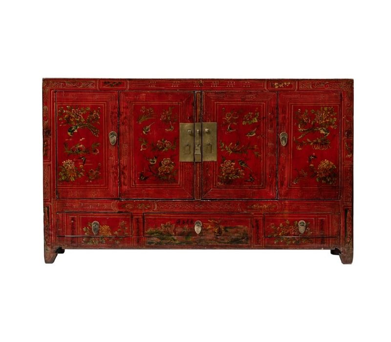 Antique Chinese Sideboard Hand-painted Flowers W155xD40xH93cm - Dongbei, China