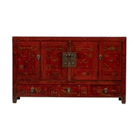 Antique Chinese Sideboard Handpainted Flowers W155xD40xH91cm Dongbei China