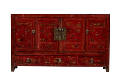 Fine Asianliving Antique Chinese Sideboard Handpainted Flowers W155xD40xH91cm Dongbei China