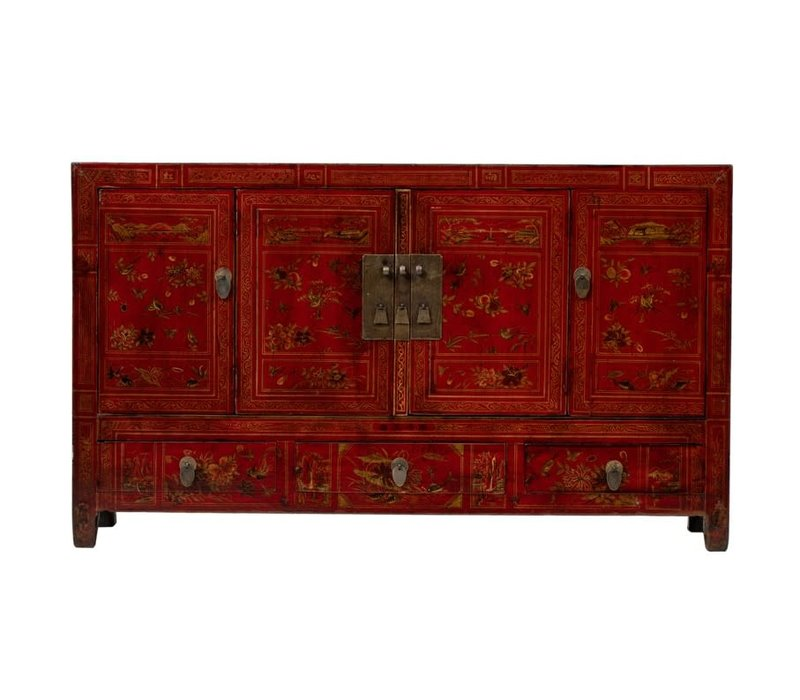 Antique Chinese Sideboard Hand-painted Flowers W155xD40xH91cm Dongbei China