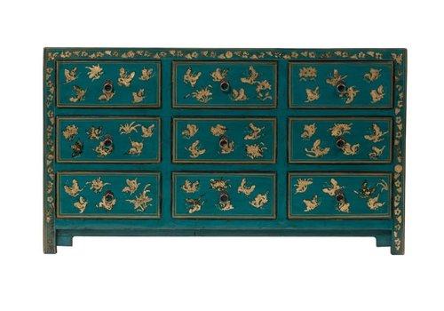 Fine Asianliving Commode Chinoise Papillons peints à la Main Bleu Canard L140xP40xH80cm