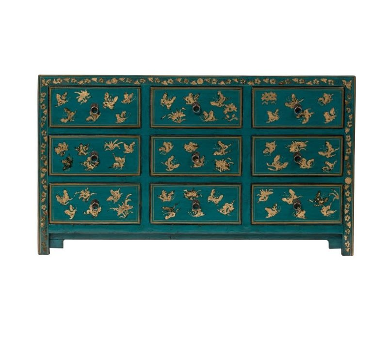 Chinese Chest of Drawers Handpainted Butterflies Teal W140xD40xH80cm