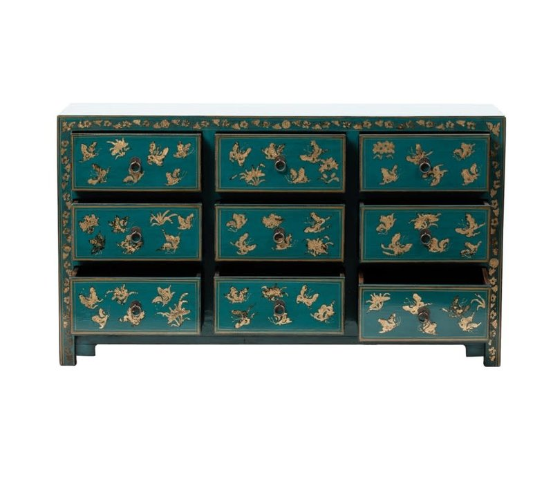 Chinese Chest of Drawers Hand-painted Butterflies Teal W140xD40xH80cm