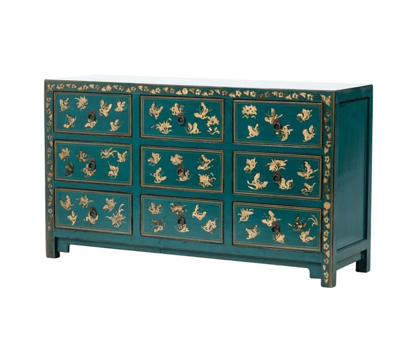 PREORDER 28/12/2020 Chinese Chest of Drawers Handpainted Butterflies Teal W140xD40xH80cm