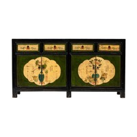 Antique Chinese Sideboard Handpainted Flowers Black W165xD45xH86cm
