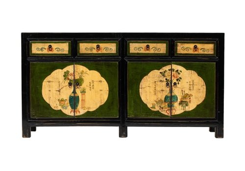 Fine Asianliving Antieke Chinese Dressoir Bloemen Zwart Handgeschilderd  B165xD45xH86cm