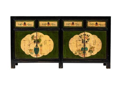 Fine Asianliving Buffet Chinois Antique Fleurs Peintes à la Main Noire L165xP45xH86cm
