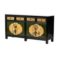 Credenza Cinese Antica Fiori Dipinti a Mano Nera L165xP45xA86cm