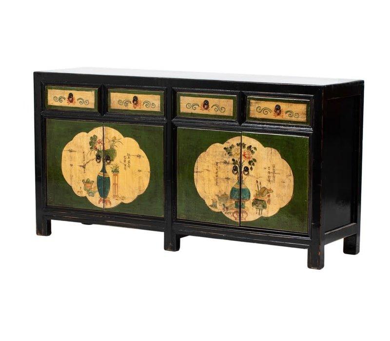 Antikes Chinesisches Sideboard Kommode Handbemalte Blumen Schwarz B165xT45xH86cm