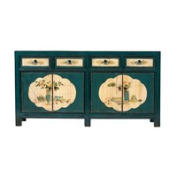 Antique Chinese Sideboard Hand-painted Flowers Teal W165xD45xH86cm