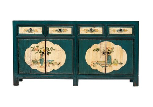 Fine Asianliving Buffet Chinois Antique Fleurs Peintes à la Main Bleu Canard L165xP45xH86cm
