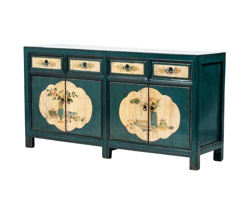 PREORDER 28/12/2020 Antique Chinese Sideboard Handpainted Flowers Teal W165xD45xH86cm