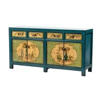 Antikes Chinesisches Sideboard Kommode Handbemalte Blumen Blau Mint B165xT45xH86cm