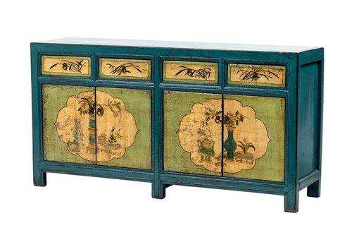 Fine Asianliving Buffet Chinois Antique Fleurs Peintes à la Main Bleu menthe L165xP45xH86cm