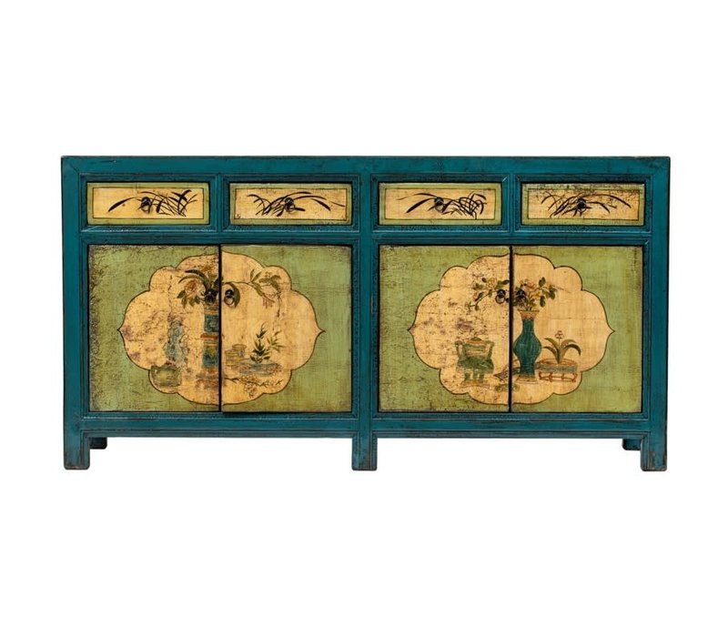PREORDER 28/12/2020 Antique Chinese Sideboard Handpainted Flowers Blue Mint W165xD45xH86cm