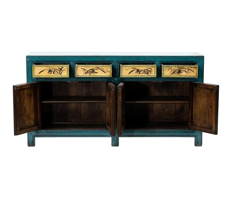 Antique Chinese Sideboard Hand-painted Flowers Blue Mint W165xD45xH86cm