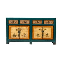 Antique Chinese Sideboard Hand-painted Flowers Blue Orange W165xD45xH86cm