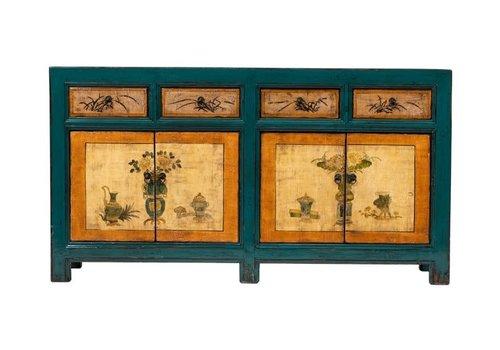 Fine Asianliving Buffet Chinois Antique Fleurs Peintes à la Main Bleu Orange L165xP45xH86cm