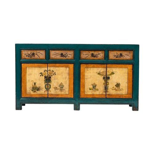 Fine Asianliving Antique Chinese Sideboard Hand-painted Flowers Blue Orange W165xD45xH86cm